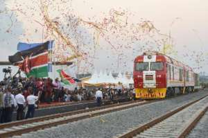 Show the flag: The launch in May 2017 of one of the biggest railway projects in Africa -- a $3.2-billion Chinese-built track between Nairobi and the port city of Mombasa.  By TONY KARUMBA (AFP)