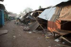 Shops in a street of the PK5 district in Bangui were ransacked after the clashes that left at least 30 people dead.  By FLORENT VERGNES (AFP)