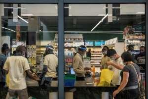 Shoppers at the Foodplus store in the Kilimani neighbourhood.  By Kabir Dhanji (AFP)