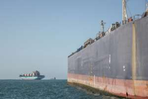 Since 2016, ship-to-ship refuelling, or bunkering, has been possible in Algoa Bay -- the main storage tanker can hold 100,000 metric tons of fuel.  By MARCO LONGARI (AFP)