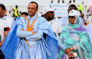 Sidi Mohamed Ould Boubacar, left, has had two spells as prime minister. He hopes to get enough votes to force a runoff.  By AHMESEL MOHAMED ELHADJ (AFP)