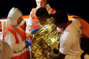 Some migrants were taken off for medical treatment; others tried to swim ashore from the boat.  By Handout (Sea Watch/AFP)