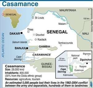 The Casamance Movement of Democratic Forces rebel group has been fighting since 1982 for independence.  By  (AFP/Graphic)