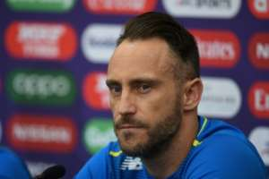 South Africa captain Faf du Plessis attends a press conference ahead of their World Cup match against India.  By Dibyangshu SARKAR (AFP)