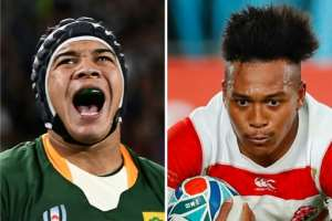 South Africa wing Cheslin Kolbe (L) and Japan's Kotaro Matsushima are both electric runners.  By Anne-Christine POUJOULAT, Odd ANDERSEN (AFP)