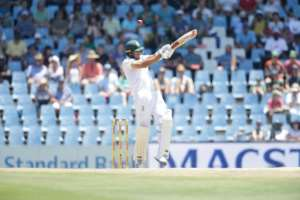 South African batsman Aiden Markram plays a shot during the first day of the second Test against India at SuperSport Park in Centurion, on January 13, 2018.  By Gianluigi Guercia (AFP)
