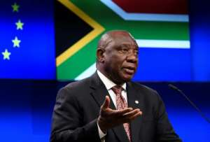 South African President Cyril Ramaphosa 'needs to deal with the ghost of Jacob Zuma that is roaming around ANC structures', said political analyst Xolani Dube.  By JOHN THYS (AFP)