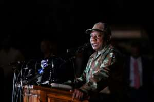 South African President Cyril Ramaphosa saw off soldiers before they deployed from a military base in Soweto township.  By - (AFP)