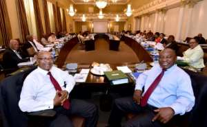 South African President Jacob Zuma and Deputy President Cyril Ramaphosa attended a routine meeting of the Cabinet Committee on Thursday
