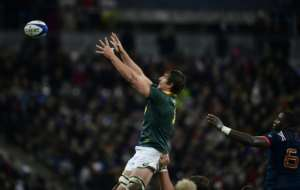 South Africa's lock and captain Eben Etzebeth (C) leaps in the line-out during their friendly rugby union Test match against France, at The Stade de France Stadium in Saint-Denis, on November 18, 2017