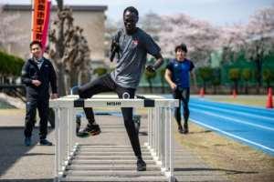 South Sudan Paralympic sprinter Michael Machiek Ting Kutjang trains at the team's Maebashi base, north of Tokyo.