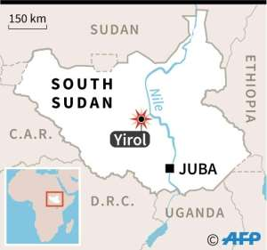 Map locating a plane crash near Yirol in South Sudan, in which 20 people were killed..  By  (AFP)