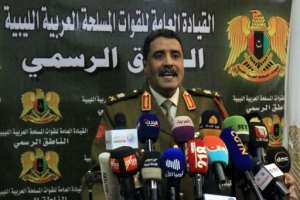 Spokesman for Khalifa Haftar's forces Ahmad al-Mesmari announced the capture of Sirte from forces loyal to Libya's unity government on Monday spokesman for Haftar's forces, addresses the media in the eastern Libyan city of Benghazi on January 6, 2020.Forces of Libyan strongman Khalifa Haftar announced they had taken control of the coastal city of Sirte from factions loyal to the Tripoli government. Sirte, some 450 kilometres (280 miles) east of the capital Tripoli, had been held by forces allied with the UN-recognised Government of National Accord (GNA) since 2016..  By Abdullah DOMA (AFP)