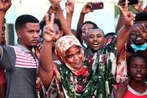 Sudanese demonstrators demand the dissolution of former ruler Omar al-Bashir's party.  By EBRAHIM HAMID (AFP)