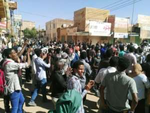 Sudanese protesters chant slogans during an anti-government demonstration in the capital Khartoum on January 6, 2019.  By - (AFP)