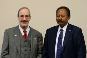 Sudanese Prime Minister Abdalla Hamdok meets with House Foreign Affairs Committee Chairman Eliot Engel at the US Capitol.  By JIM WATSON (AFP)