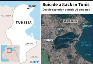 Map of central Tunis locating double explosion outside US embassy.  By  (AFP)