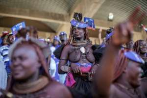 Supporters of opposition candidate McHenry Venaani, dressed in traditional Himba attire, at a final rally in the capital Windhoek.  By GIANLUIGI GUERCIA (AFP/File)
