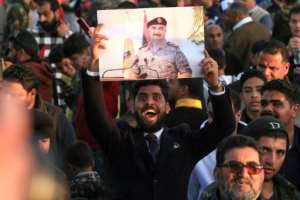 Supporters of Libyan military strongman Khalifa Haftar demonstrate in February against the Turkish military intervention in support of the Tripoli government.  By Abdullah DOMA (AFP/File)