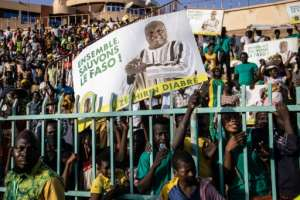 Supporters of presidential candidate Zephirin Diabre. The placards read: 'Let's save (Burkina) Faso together'.  By OLYMPIA DE MAISMONT (AFP)