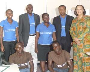A group picture of some staff of Multiplant Ghana Limited with Dorothy Gordon, the National Co-ordinator of WSA-Ghana (right)