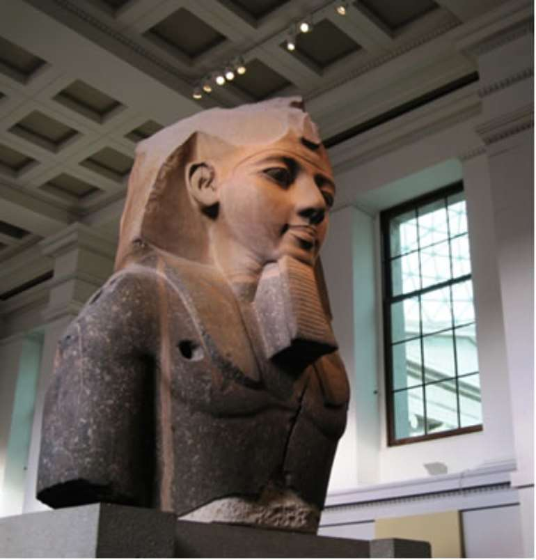Bust of Ramesses II, weighing 7.25 tons, Egypt, now in the British Museum, London, United Kingdom.