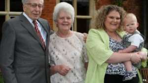 Louise Brown celebrated her 30th birthday in 2008 with her mum Lesley, son Cameron and IVF pioneer Prof Robert Edwards