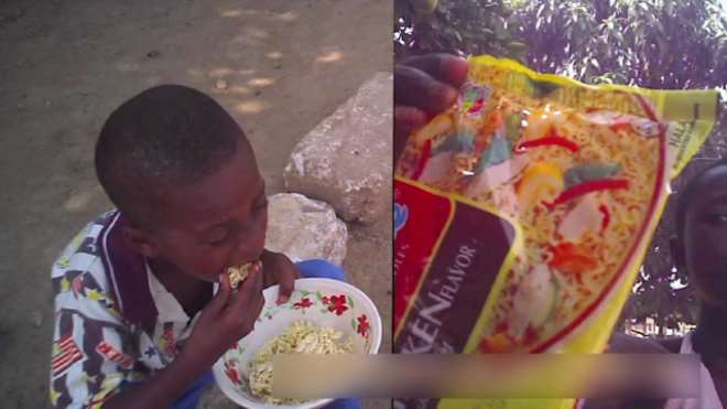BOY EATING RAW INDOMIE