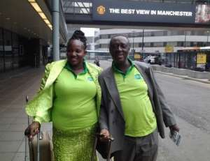 Best Glo Dealer, Samuel Omari and wife, Blendina arrive in Manchester for the four-day tour