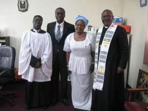 Pix: Dr. Elvin Frempong Barffour Frempong Manso second from left, his mother and Rev. French in celebrating the success.