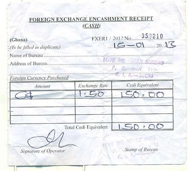 Forex receipt
