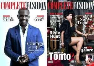 TONTO DIKEH AND HOLLYWOOD ACTOR,GBENGA AKINNAGBE COVER COMPLETE FASHION MAGAZINE