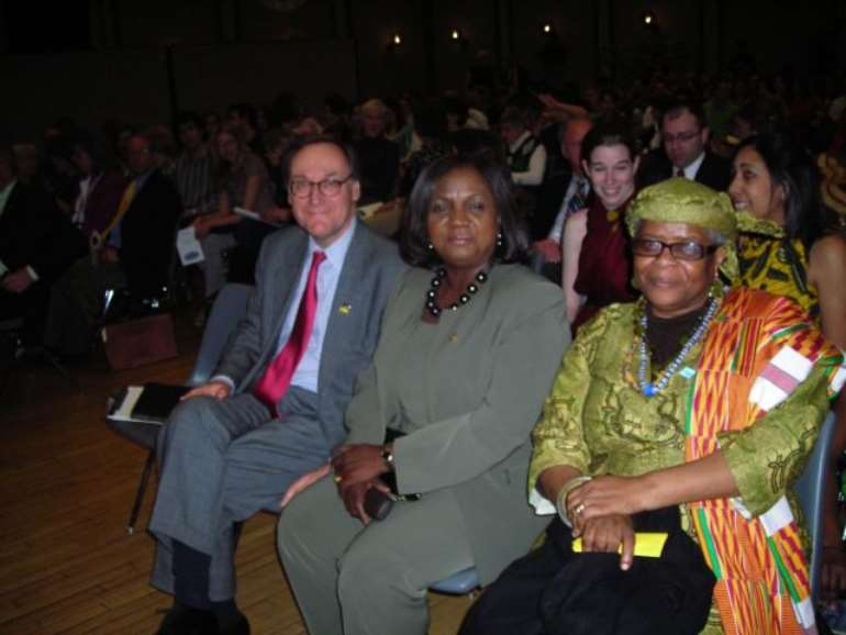 SUNY Geneseo 2010 Kenneth Roemer Lecture on World Affairs, Wednesday, March 31st. Left to Right: SUNY Geneseo President, Christopher C. Dahl, Chief Justice of Ghana, Georgina T. Wood and Fulbright Scholar, Eva Tagoe-Darko