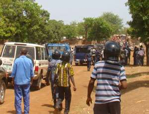 Police Personnel trying to calm down tempers at Gbane