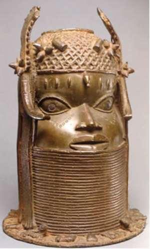 Commemorative head of an Oba, Benin, Nigeria, now in Ethnologisches Museum/Humboldt Forum, Berlin, Germany.