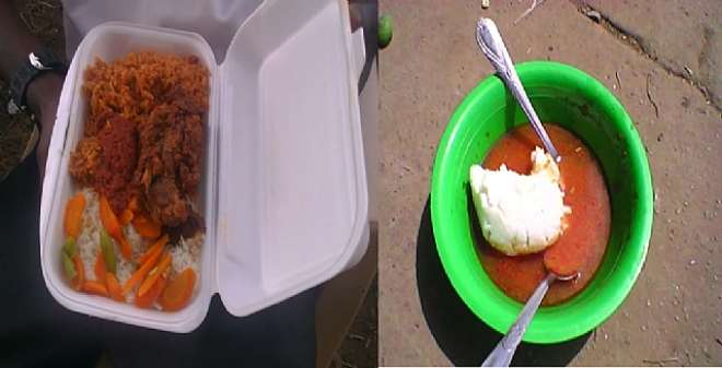 COMPARISON BETWEEN THE FRIED RICE AND CHICKEN AND  THE PERSONNEL AND VOLUNTEERS WERE SERVED AND WHAT THEY USUALLY EAT