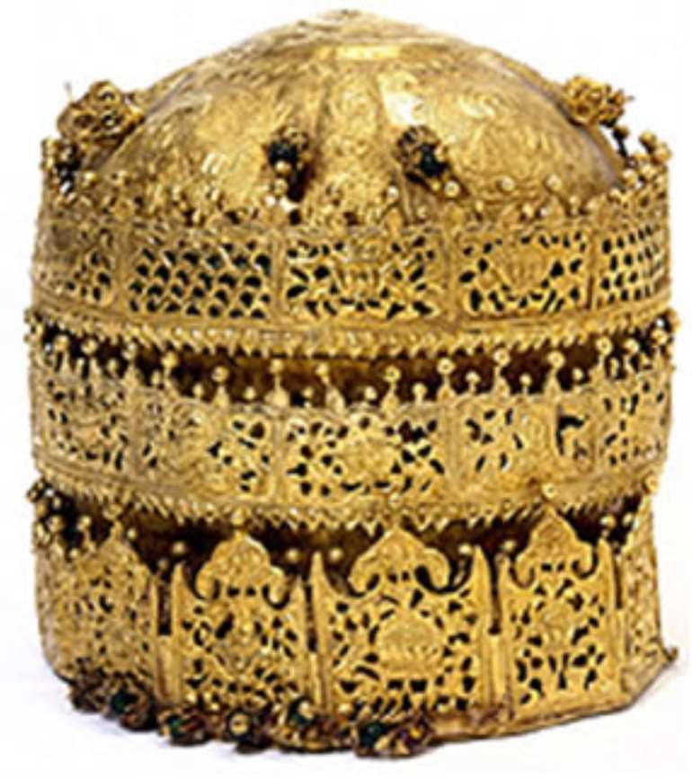 Crown of Tewodros II, Ethiopia, the Victoria and Albert Museum, London, United Kingdom.  Looted during the invasion of Magdala in 1868 by a British Punitive Expedition army. The crown is labled at the Victoria and Albert as the