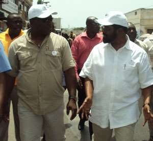 The Greater Accra Regional minister Hon Nii Laryea Agbo and the mayor of Accra Dr. Alfred Vanderpuye during the tour in Accra.