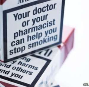 Large text warnings currently appear on the front of cigarette packaging and image warnings on the back
