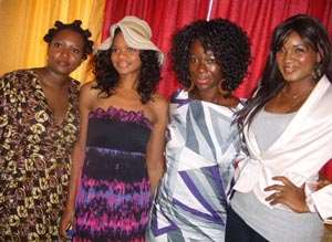 Kimberly (2 left ) with Ama K, Omotola and Ebbe Bassey (far left) in a pose while filming in Ghana
