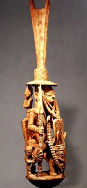 Veranda post, equestrian figure, carved by Areogun of Osi-Ilorin National Museum, Lagos, Nigeria.