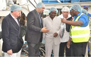 Kwesi Ahwoi (middle) listening to Nichol Elizabeth (second left) and two technical officers of PFC. With them (extreme left) is Adolfo Valsecchi, the CEO of MWBrands.