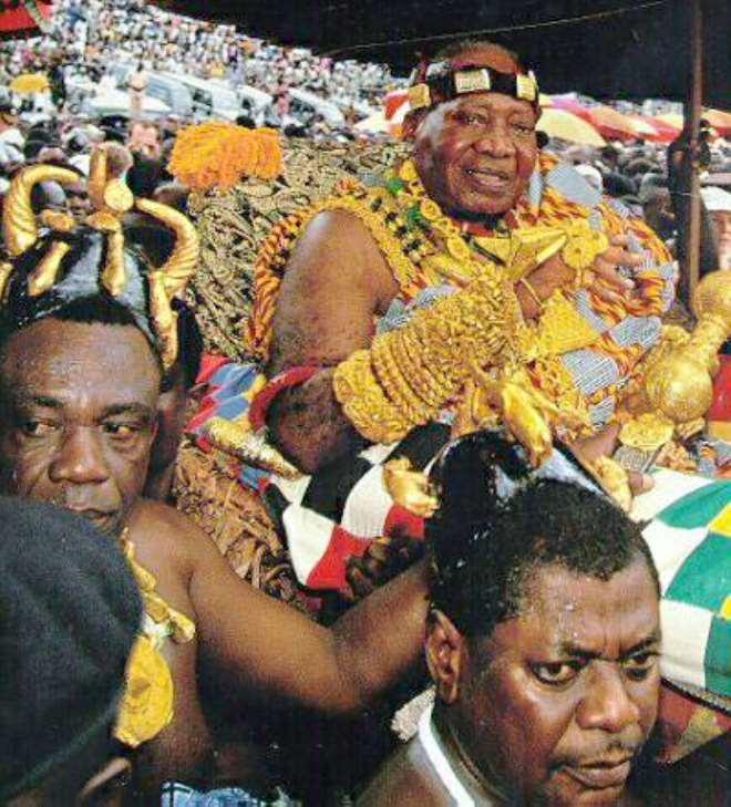 The late Asantehene,Otumfuo Nana Opoku Ware II. in full regalia.