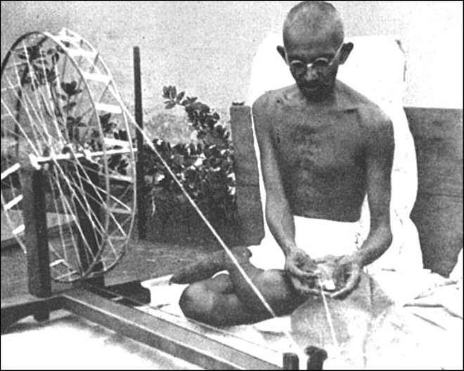 gandhi ji with his charkha