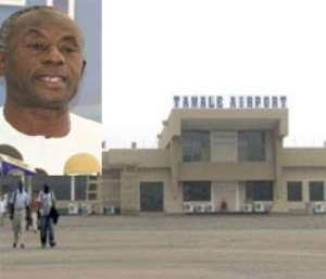 Alhaji Collins Dauda, Minister of Transport, addressing the press in Acccra yesterday(left), The Tamale Airport(right)
