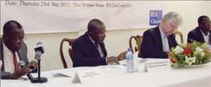 from left Professor Justice Kludze, Brigadier General Francis Agyemfra (Rtd), chairperson, Hans Burning ExecutiveDirector NIMD and Mr. Kwesi Jonah, lecturer, political science department University of Ghana.