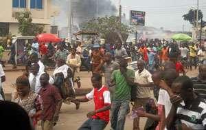 Takoradi residents running for cover yesterday