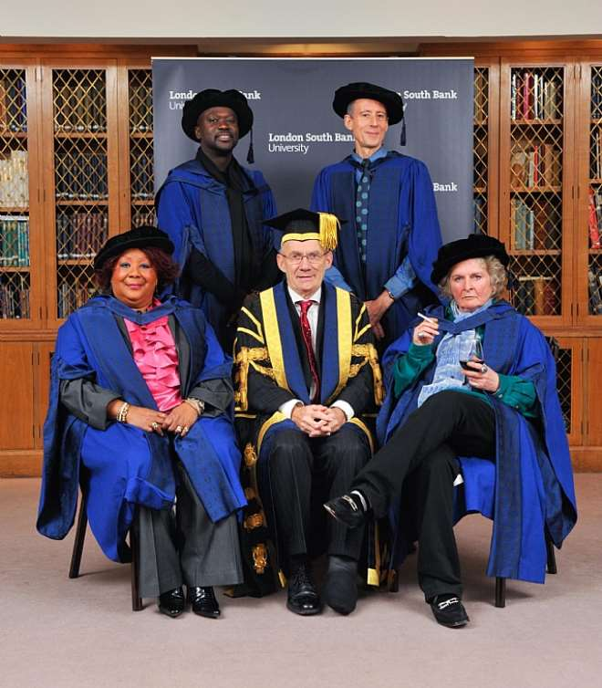 Former General Secretary of the Royal College of Midwives Dame Karlene Davis DBE (born in Jamaica), pioneering architect David Adjaye (of Ghanaian descent), The Vice-Chancellor- Prof Martin Earwicker, Peter Tatchell, human rights campaigner and the artist Maggie Hambling CBE.