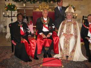 His Royal Majesty being invested into the Knights of Malta