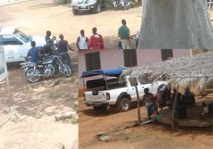 The Ghana Police pick-up van packed at Zukpe, Togo last Saturday